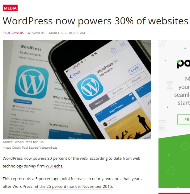 "Image shows a blog post titled ""WordPress now powers 30% of websites"", which begins ""WordPress now powers 30 percent of the web, according to data from web technology survey firm W3Techs. This represents a  percentage point increase in nearly two and a half years after WordPress hit the 25 percent mark in November 2015."""
